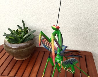 vintage alebrije Mexican folk art Mexico sculpture wood carving mantis