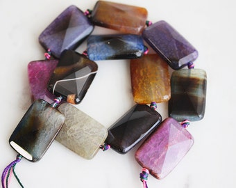 A2-653-2] Assorted Agate / 30 x 40mm / Rectangle Bead  / 1 piece(s)