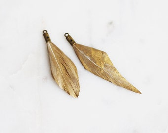 T9-110-A1] Gold Feather / 35mm / Ready Made Feather / 4 piece(s)