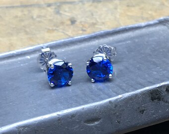 Blue Sapphire Earrings, 2.00 ct. Blue Sapphire Stud Earrings, 14k White Gold, 4 Prong Setting, Birthstone, Wedding, Bridesmaid Gift