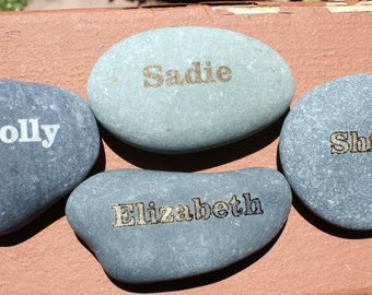 Laser etched name rocks, memorials,  personalized, custom engraved rocks, garden stones