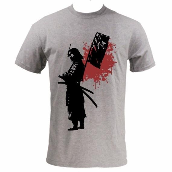 Items similar to screen printed samurai custom t shirt on etsy for Custom screen print shirt