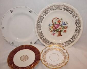mix match vintages plates