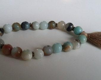 Amazonite natural gemstone bracelet, 8 mm beads/ Tibetan antique bronze.