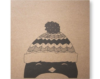 Penguin Card, Paul's Hat, Handmade Illustrated Greeting Card