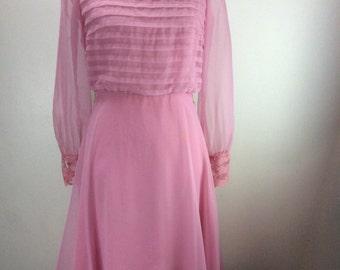 1960's Lavender Chiffon & lace dress