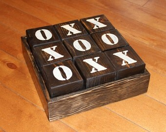 Hand Painted Wood Tic Tac Toe Game
