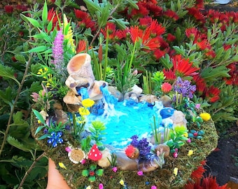 FAIRIES GARDEN POND, Garden Accessories ,River rock terrariums pond, fairy pond, fairy house pond, fairy garden, fairy pond,miniature pond