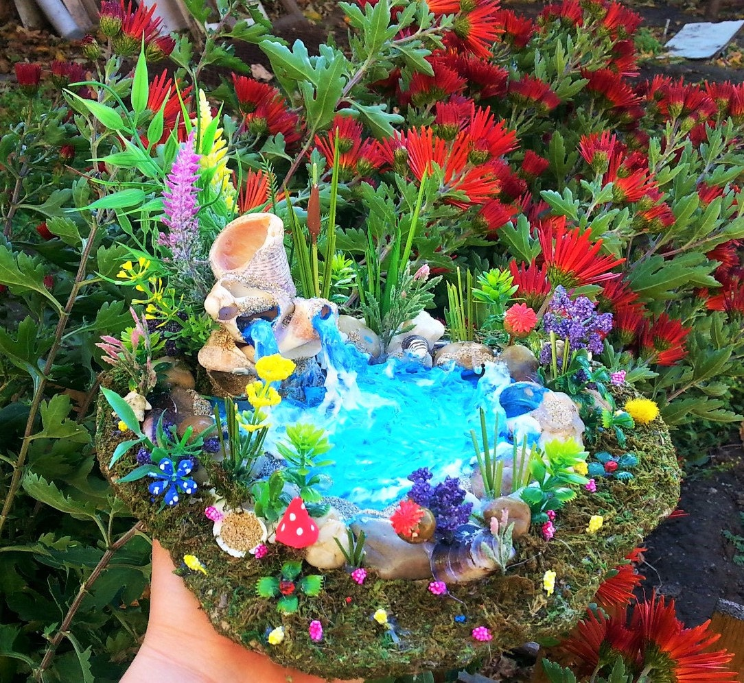Fairies garden pond garden accessories river rock terrariums for Garden pool accessories