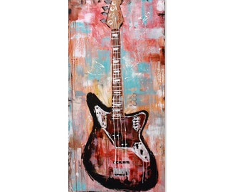 PRINT guitar painting, abstract electric Fender Jaguar Bass