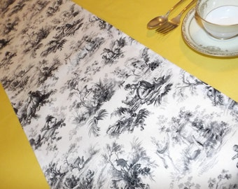 Toile table runner French toile table runner, Table runner black and white