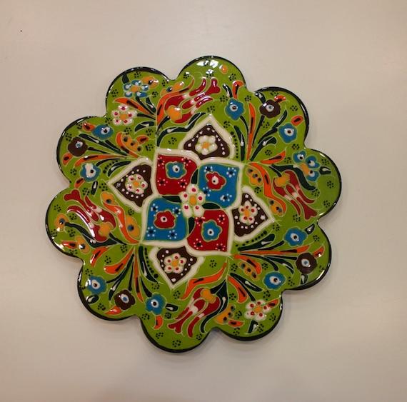 Large Ceramic Hot Pan Tile, Relief Design Green Mat, Green Tile, Colorful Ceramic Tile, Pottery Tile, Mat for Hot Pans, Green Combinations