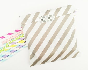 Light grey diagonal stripes paper bags, Gift bags, packaging,20X striped paper Snack Sweet Treats bags, party, Cute packaging,baby shower
