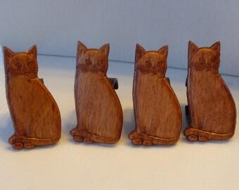 Set of 4 Vintage Cat Napkin Holders