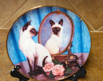 Franklin Mint Siamese Twins Collectible Plate Daphne Baxter Limited Edition The Franklin Mint Heirloom Collection Wall Plate