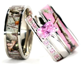 Camo wedding ring sets Etsy