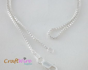 "925 Sterling Silver BOX Chain Necklace, Italy 1.5mm 16"", 18"", 20"", 24"", 30"", 36"", Lobster Clasp, Ship from USA, New"