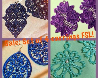 Free standing lace  machine embroidery design set earrings FSL Embroidery Pattern
