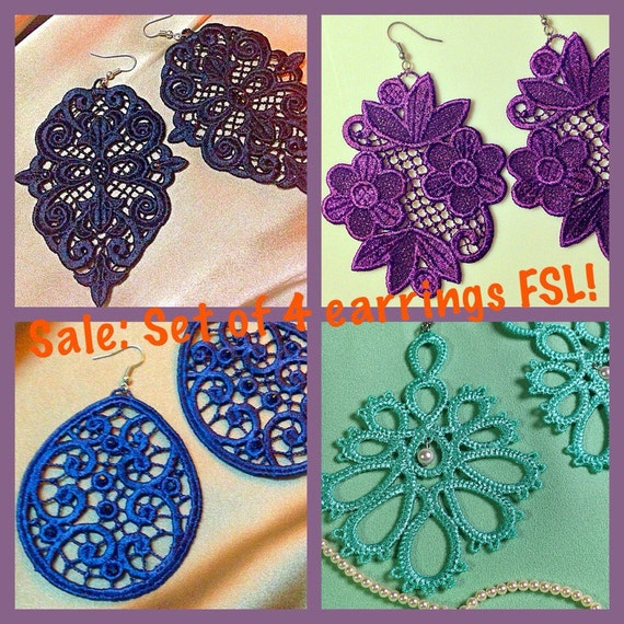 Free Standing Lace Machine Embroidery Design Set Earrings Fsl
