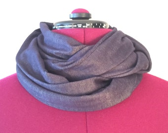 Soft dark blue denim infinity scarf