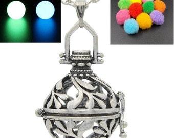 1pcs Flower Filigree Locket Necklace Essential Oil Diffuser Necklace Handmade