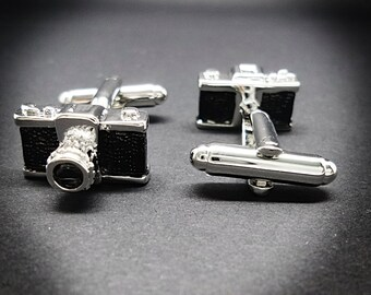Camera cufflinks men's Photographer silver plated pewter cufflinks DSLR vintage camera cufflinks