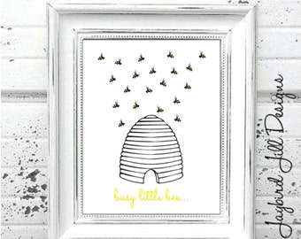 BEE HIVE Print, Busy Little Bee, Nursery Art, Wall Art, Bumble Bee, Simple, Bedroom Wall Decor
