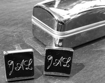 Engraved Chunky Square Rhodium Cufflinks and Case