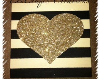 Stripes with GLITTER heart Wood Sign