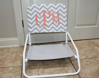 Grey and White Chevron Beach Chair Slip Cover