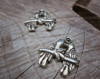 Double Bird Charm Pendant Charms ~2 pieces #100276