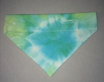 Handmade pet bandana tie dye blue
