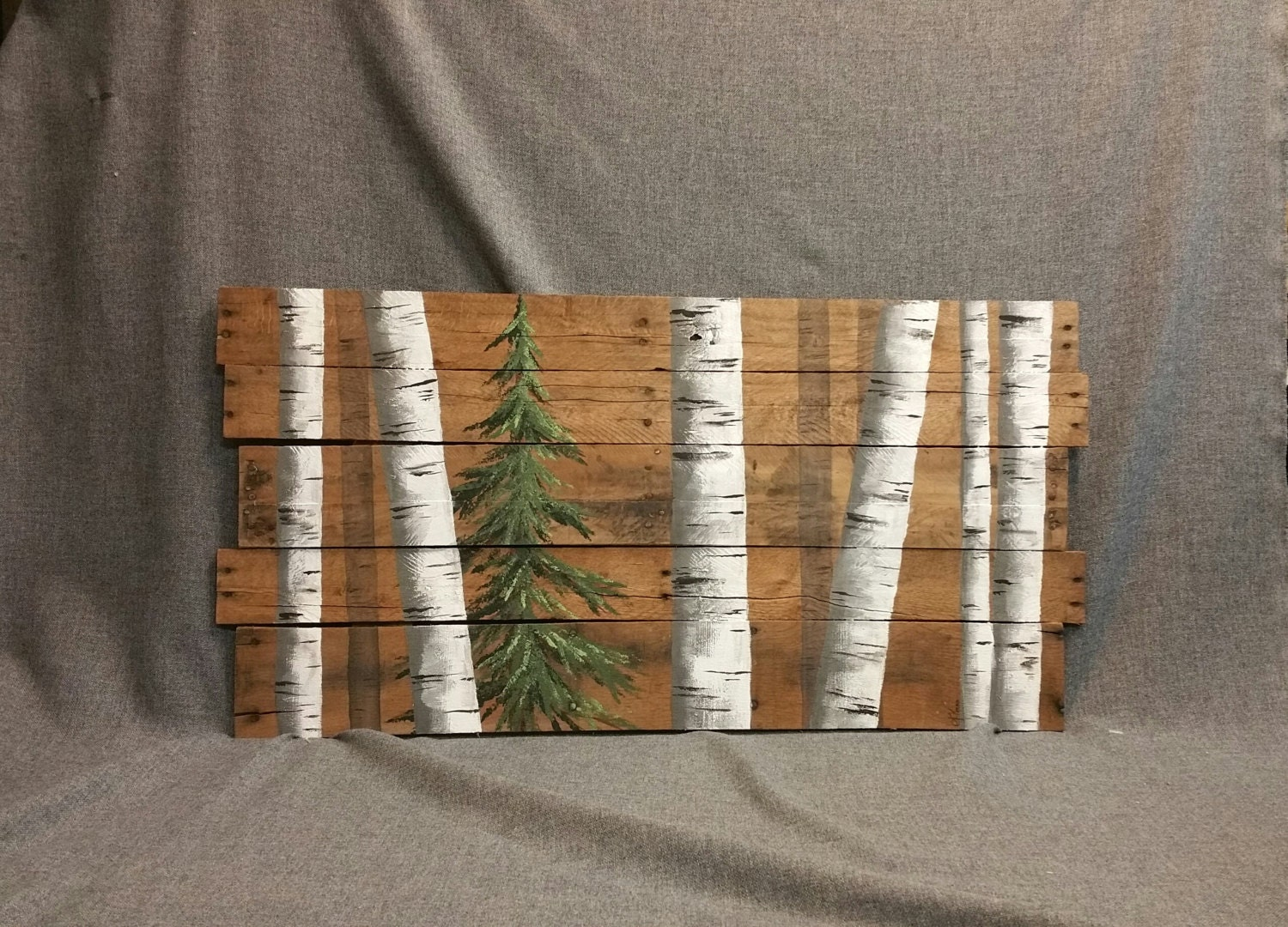 Reclaimed pallet white birch wall decor painting hand painted for White painted pallets