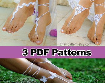 Sale, THREE CROCHET PATTERNS: Snake barefoot sandals #5 + barefoot sandals #6 + butterfly barefoot sandals #7