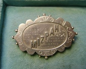 ANTIQUE VICTORIAN SILVER Mizpah Scalloped Edge Brooch - c1888