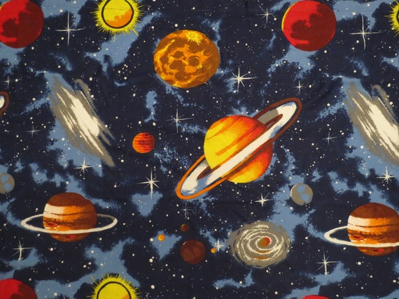 Set Of 2 Vintage Outer Space Curtains