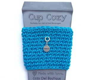 Cup Cozy in Aqua Blue with Believe Charm, Coffee Cozy, Cup Warmer, Coffee Cup Sleeve, Tea, Coffee, Hot Cold Beverage, Crochet