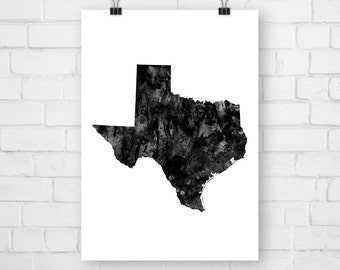 Printable Poster Texas State, Typography Print, Map, Watercolor, Texas Print, Texas Wall Art, Texas Poster, Texas Map, Texas Watercolor