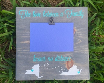 Love Knows No Distance Picture Frame / The Love Between a Family Knows No Distance / Rustic Picture Frame / Picture Frame/ Mothers Day Gift