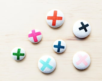 Screen Printed Colourful Cross /Off White Linen Fabric Button 6 X Set / Flat Back Button's / 38 mm + 28 mm