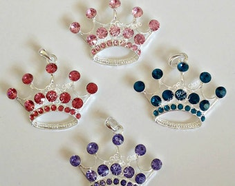 52 x 54mm Rhinestone Metal TIARA Princess CROWN PENDANT~Pageant jewelry