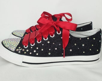 Black glitter shoes. Custom converse style bling pumps, glitter gothic pumps, plimsolls, flats, rockabilly, boho, hippy women shoes pumps