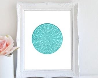 Minimalist Art, Printable Art, Geometric Print, Modern Abstract Art, Teal Wall Decor