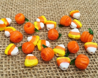 10 | Candy Corn & Pumpkin Lampwork Glass Beads | Halloween Jewelry | Halloween beads | 11mm