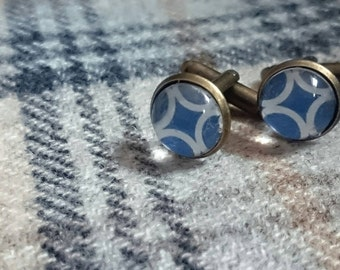 NEW! Blue and white circle cufflinks