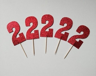 Glitter Number cupcake toppers set of 12