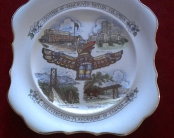 Vintage Vancouver British Columbia Souvenir Plate~The Evergreen Playground of Canada
