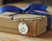 Adjustable stainless steel bangle, alex and ani style, handstamped colon cancer star