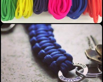 Paracord Keychain, Cancer Awareness, Royal Blue, pink, green,and more, gift for him, keychain for him, keychain for dad, cancer survivor