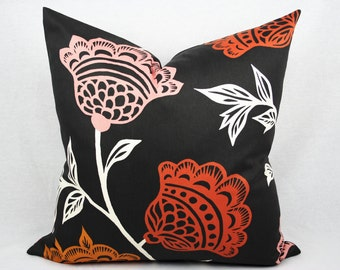 Gray and Orange Floral Pillow Cover, Handmade, Thomas Paul Fabric, Modern Floral,  20x20 inch, Same Fabric Both Sides, Zipper, Ready To Ship